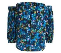 Off-the-shoulder Printed Silk Top Multicolor