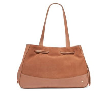 Suede and textured-leather tote