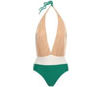 Woman Open-back Color-block Halterneck Swimsuit Emerald