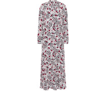 Woman Tara Gathered Floral-print Crepe Midi Dress Pastel Pink