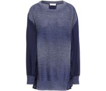 Woman Voile-paneled Knitted Sweater Navy