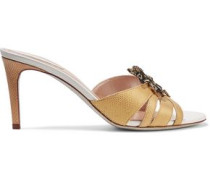 Embellished appliquéd snake and leather sandals
