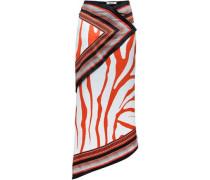 Asymmetric Printed Silk-satin Midi Skirt Black