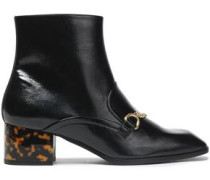 Chain-embellished Faux Patent-leather Ankle Boots Black