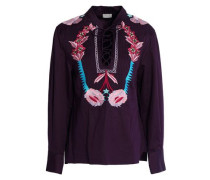 Peacock pussy-bow embroidered cotton-poplin blouse