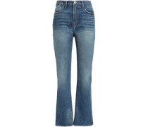 Distressed High-rise Straight-leg Jeans Mid Denim  5