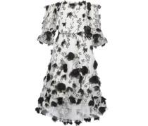 Off-the-shoulder Floral-appliquéd Embroidered Tulle Dress White