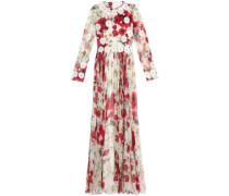 Floral-appliquéd printed silk-chiffon gown