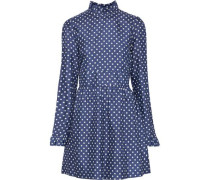 Woman Adyn Ruffle-trimmed Polka-dot Silk Mini Dress Indigo