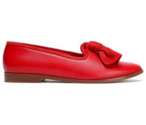 Knotted Suede-trimmed Leather Loafers Red