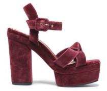 Knotted velvet platform sandals