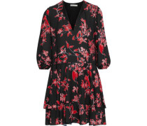 Woman Moore Tiered Floral-print Crepe De Chine Mini Dress Black