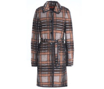 Belted checked bouclé-knit coat