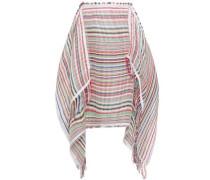 Draped Striped Cotton-blend Gauze Skirt Multicolor