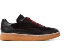 Eden paneled suede and leather sneakers