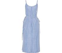 Button-detailed Gingham Coated-poplin Midi Dress Blue