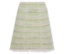 Frayed Cotton-blend Tweed Skirt Light Green