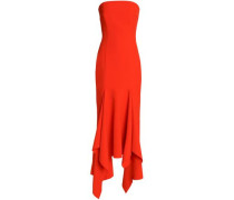 Strapless asymmetric ruffled crepe gown