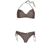 Ruched Halterneck Bikini Taupe Size 0