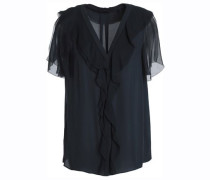 Ruffled silk-georgette and crepe top