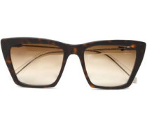 Square-frame Tortoiseshell Acetate Sunglasses Dark Brown Size --