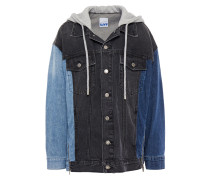 Woman Paneled Denim And Cotton-jersey Hooded Jacket Mid Denim