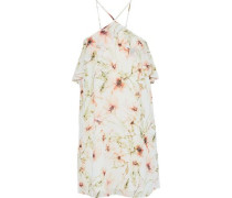 Ruffle-trimmed floral-print chiffon mini dress