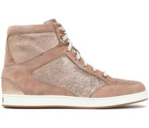 Glittered suede high-top sneakers