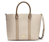 Leather-trimmed Woven Tote Sand Size --