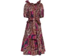 Woman Printed Cotton Midi Dress Multicolor