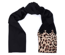 Lace-trimmed leopard print-paneled silk-blend scarf