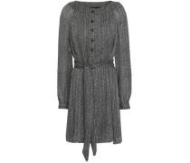 Printed Silk-georgette Mini Dress Black