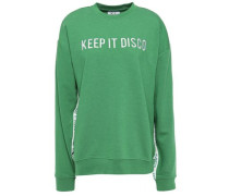Keep It Disco Embroidered French Cotton-blend Terry Sweatshirt Green