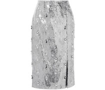 Tahira Embellished Sequined Georgette Skirt Silver Size 14