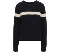 Striped Bouclé-knit Cotton-blend Two-tone Sweater Midnight Blue