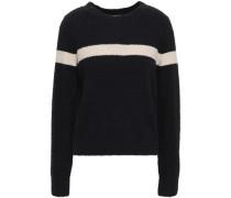 Striped Bouclé-knit Cotton-blend Two-tone Sweater Midnight Blue