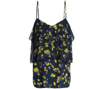 Tiered Floral-print Georgette Camisole Navy