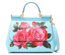 Woman Floral-print Textured-leather Shoulder Bag Sky Blue