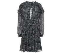 Darling Open-back Printed Gauze Mini Dress Black