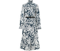 Ruffle-trimmed Printed Cotton-poplin Midi Dress White