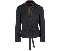 Miller Belted Prince Of Wales Checked Wool Blazer Charcoal