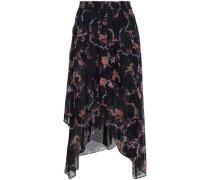 Liliespe Asymmetric Floral-print Georgette Midi Skirt Black