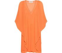 Draped Plissé-chiffon Mini Dress Orange