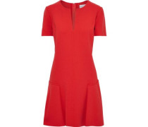 Woman Fluted Stretch-wool Crepe Mini Dress Red