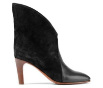 Woman Leather-paneled Suede Ankle Boots Charcoal