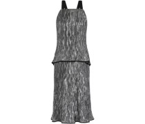 Open-back layered crinkled silk-blend lamé midi dress
