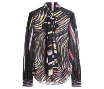 Pussy-bow printed silk-voile blouse