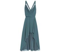 Wrap-effect silk crepe de chine midi dress