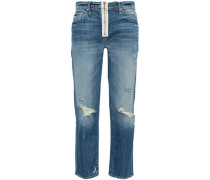Distressed Faded High-rise Straight-leg Jeans Light Denim  4