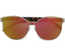 D-frame Tortoiseshell Acetate And Gold-tone Mirrored Sunglasses Gold Size --